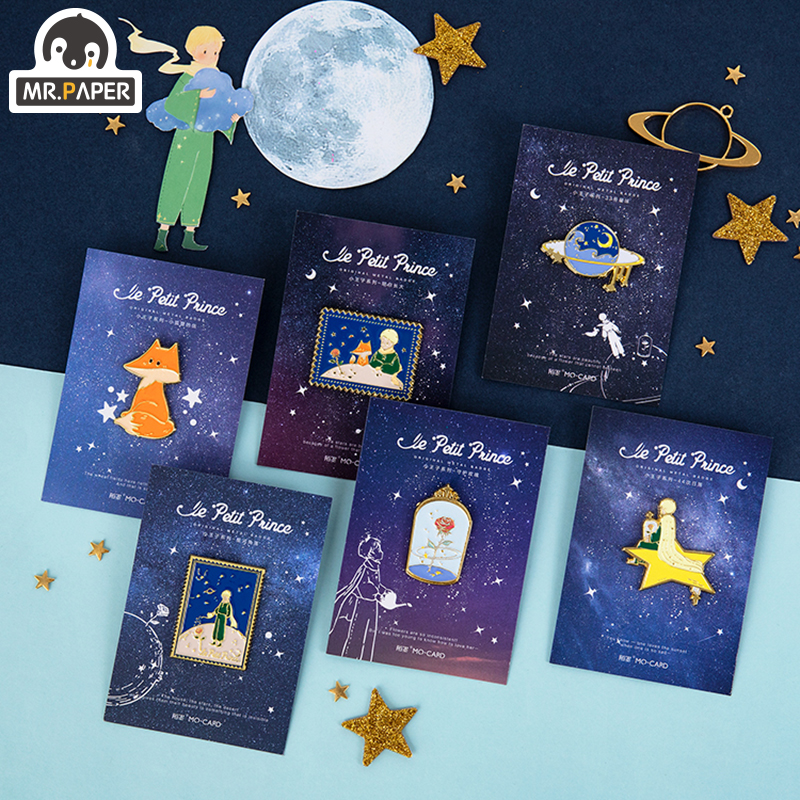 Mr.Paper 4 Designs Little Prince Fairy Tale Dream Metal Memo Pad Photo Holder Deco Standing Memo Smooth Badges Easy To Remove