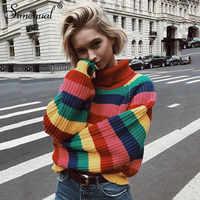 Arc-en-ciel coloré rayure Pull femmes chandails décontracté és automne mode col roulé tricots pulls amples Pull Pull Femme