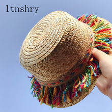 2018 Summer Parent-child sun hat Visor Tassel Beach Straw Hat Rainbow Children Outdoor Sun Caps Women Boho Ethnic Handmade Cap