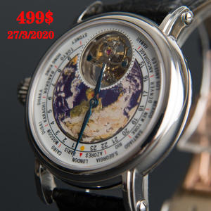 Tourbillon-Watch Mechanical-Movement Earth-Dial Alligator Seagull Men's Real Luxury Brand