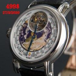 Echt seagull Tourbillon Uhr Männer Mechanische Bewegung Luxus Marke Erde Zifferblatt Alligator Leder Männer der Armbanduhr Reloj Hombre