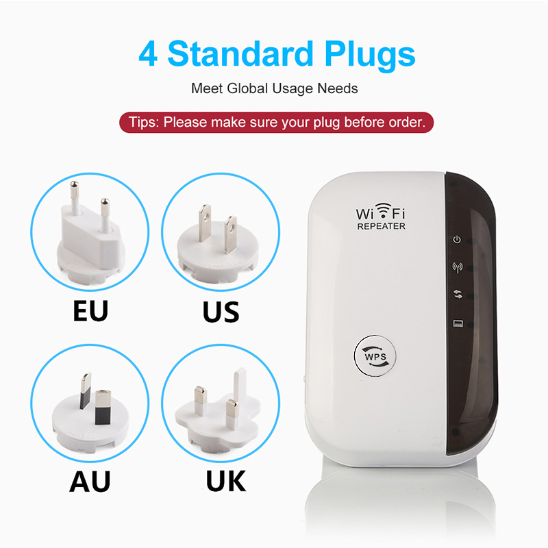300Mbps Wireless WiFi Repeater with Quick WPS Setup Supports Standard AP Mode 5