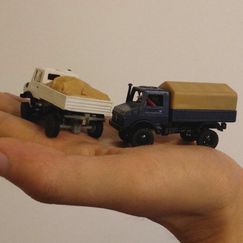 Dasmikro das87 das87e02 ho escala 1/87 4wd unimog caminhão diy kit com carroçaria branca