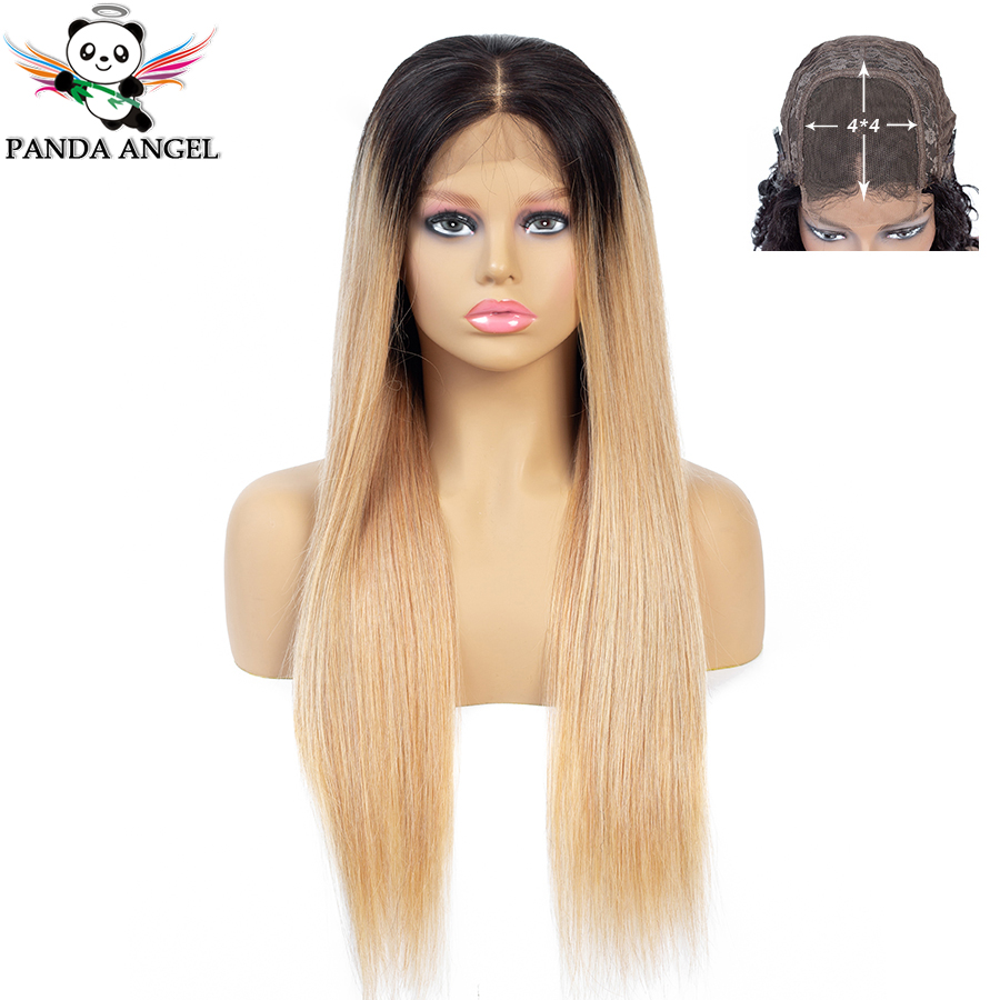 Panda Ombre 1b/27 Lace Closure Human Hair Wigs Brazilian 4*4 Lace Wigs Pre-Plucked With Baby Hair For Black Women Remy Low Ratio