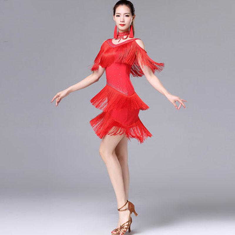 Women Latin Salsa Competition Costumes Dresses Black Red Blue Stage Costumes Tassel Latin American Dance Dresses Fringe Skirt