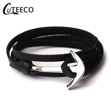 CUTEECO High Quality Bracelets Homme For Men leather Anchor Stainless Steel Pulseira Masculina Feminina Jewelry