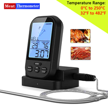 Wireless Digital Meat Thermometer   Remote BBQ Kitchen Cooking Thermometer for Oven Grill Smoker with Timer Included Food Probe