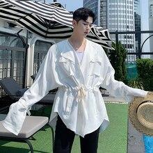 EWQ/ropa para hombres y mujeres Batwing manga larga vendaje plisado cintura irregular suelto abrigo 2020 primavera Vintage chaquetas FS613