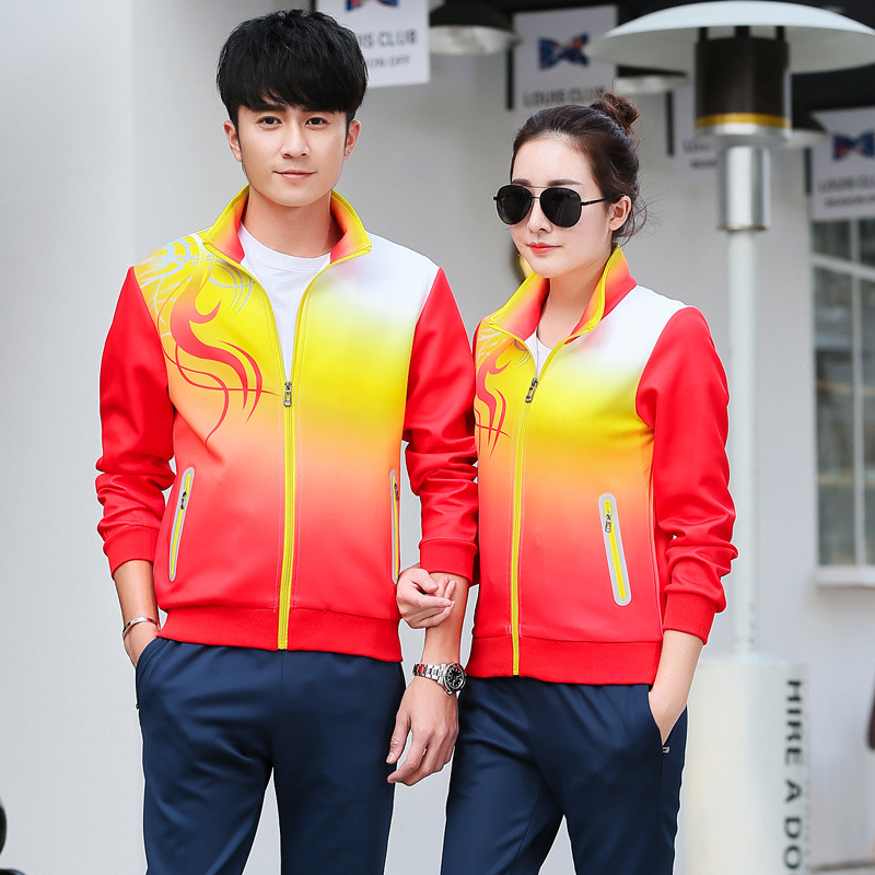 Spring And Autumn Long Sleeve Men And Women Sports Clothing Set Casual Couples Set Volunteer Group Clothes