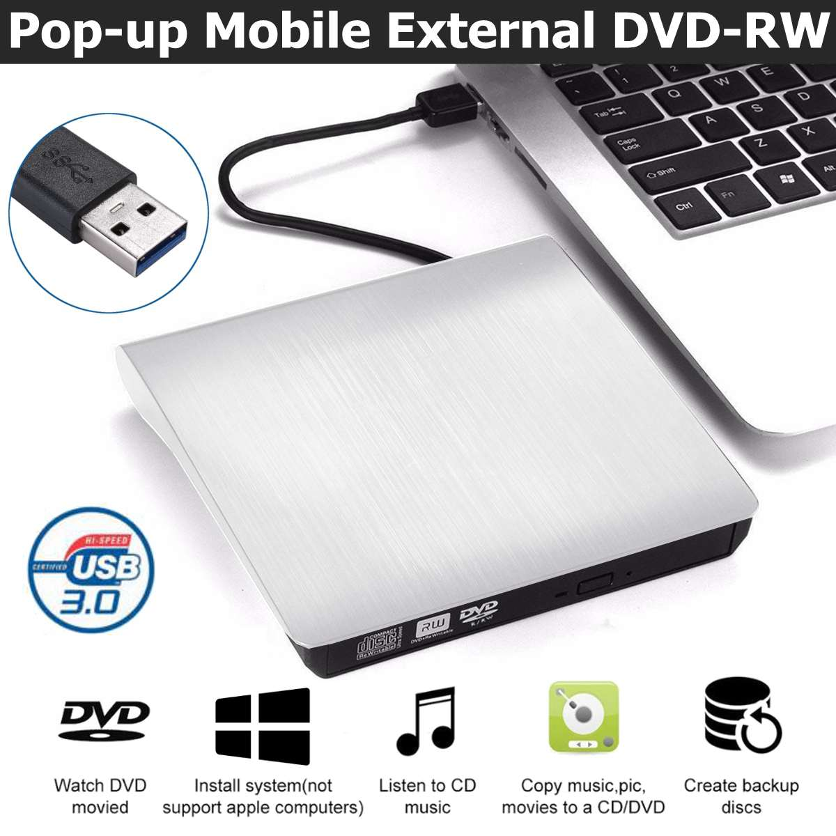 New Design White USB 3.0 Slim External DVD RW CD Writer Drive Burner Reader Player Optical Drives For Laptop PC