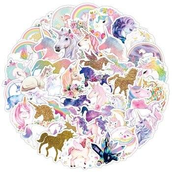 50 Pcs Cute Colorful Glitter Unicorn Stickers Waterproof PVC Decorative Stationery For Laptops Notebook Skateboard