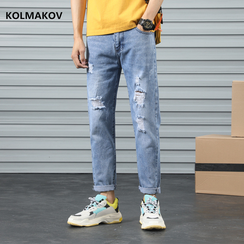 2020 Hot Selling New Arrival Jeans Men Spring Long Pencil Trousers Classic Hole Style Denim Skinny Jeans Fashion Casual Pants