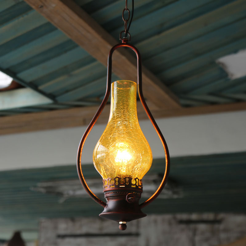 Vintage Stained Glass Pendant Light Kerosene Lamp Kitchen Lights Hanging Dining Room Industrial Lamp Home Decor Retro Luminaire