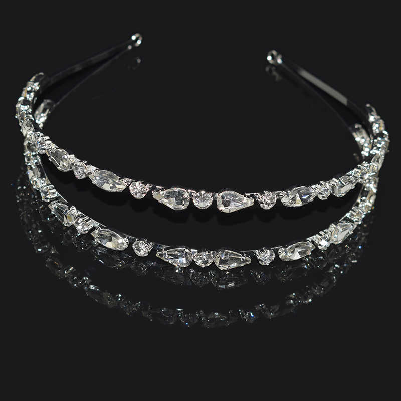 Vintage Baroque Hairband Crystal Double Headband Gold Silver Crystal Headband Girl Gift Jewelry Bride Statement Hair Accessories