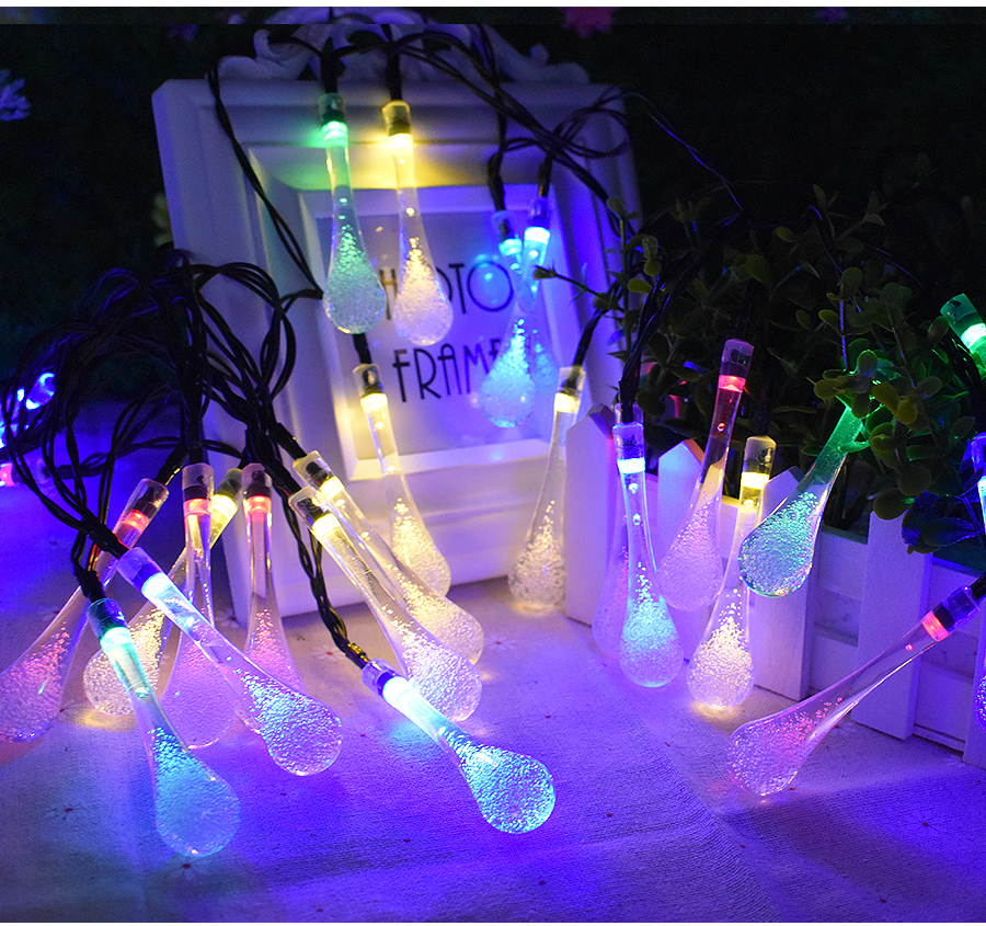 20 LED Water Drop Solar Light String Lights LED Fairy Light For Wedding Christmas Party Festival Outdoor Indoor Decoration