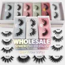 Wholesale Eyelashes 5/10/30/50/100 Pairs Mink Eyelashes Makeup Volume 3D Mink Lashes In Bulk Natural False Eyelashes Maquiagem