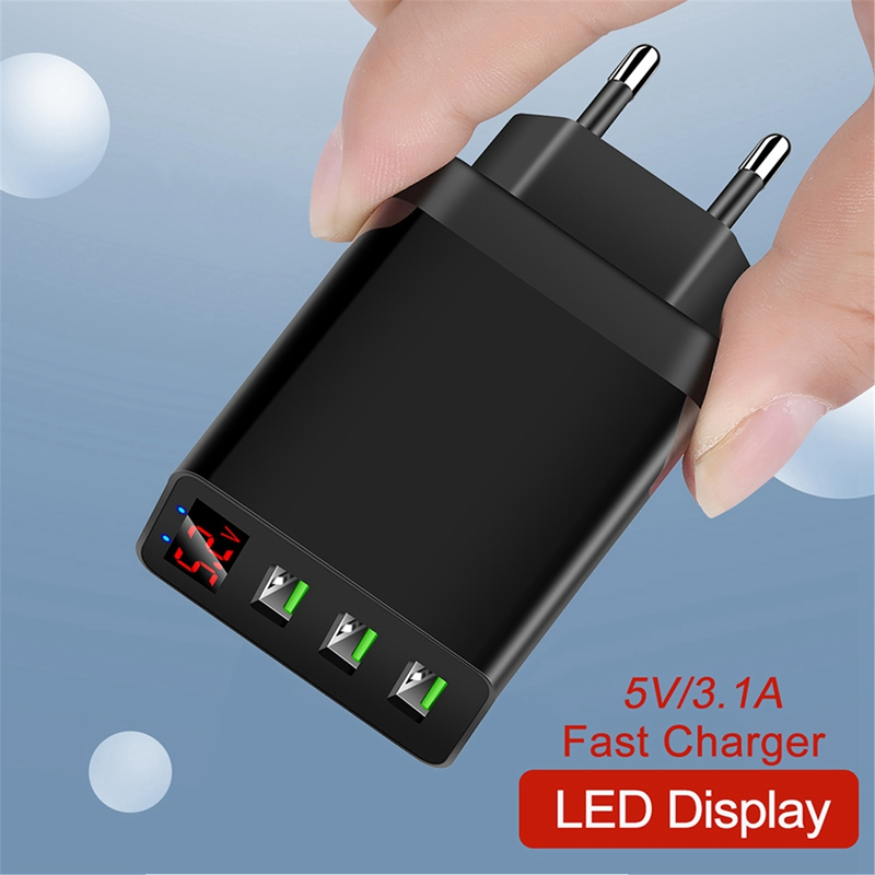 3 Port USB Phone Charger LED Display Max 3.1A Smart Fast Charger Mobile Wall Charger for iPhone iPad Samsung EU Plug image