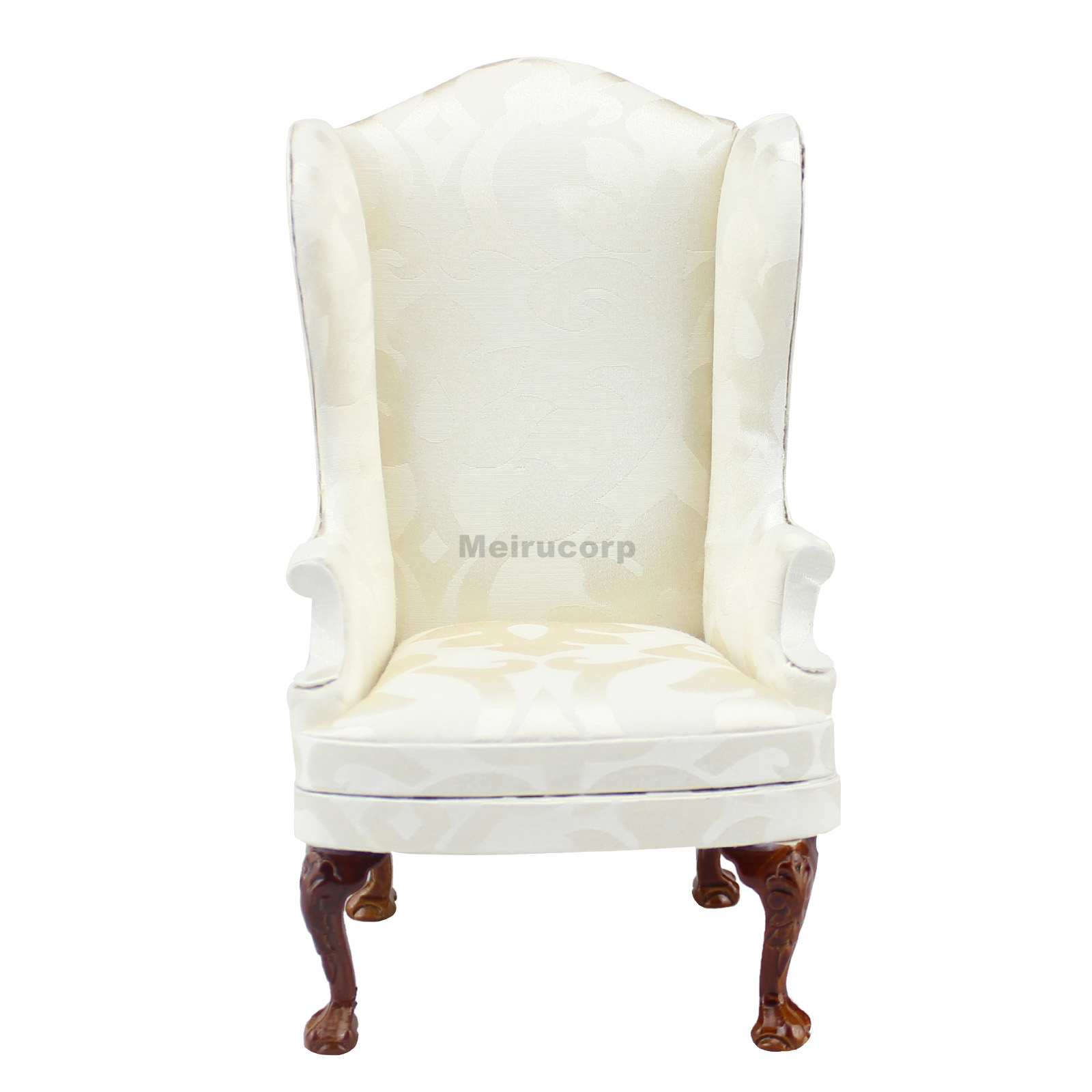 Doll Furniture 1/6 Scale Fabric Wood Model Wing Chair Scenes Photography Props