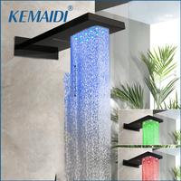 KEMAIDI Shower Head Big Rainfall Waterfall LED Shower Head Black LED Bath Shower Faucet Bathroom Square Top Over Spray