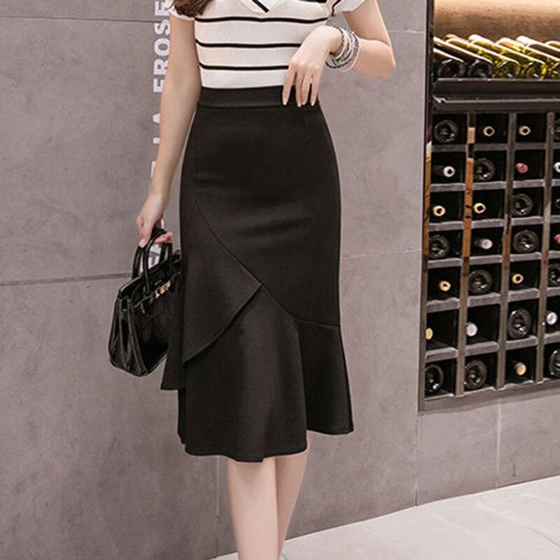 High Waist Mermaid Skirts Women Summer Knee-length Black Midi Skirt New 2020 Korean Style Office Lady Elegant Skirts P742