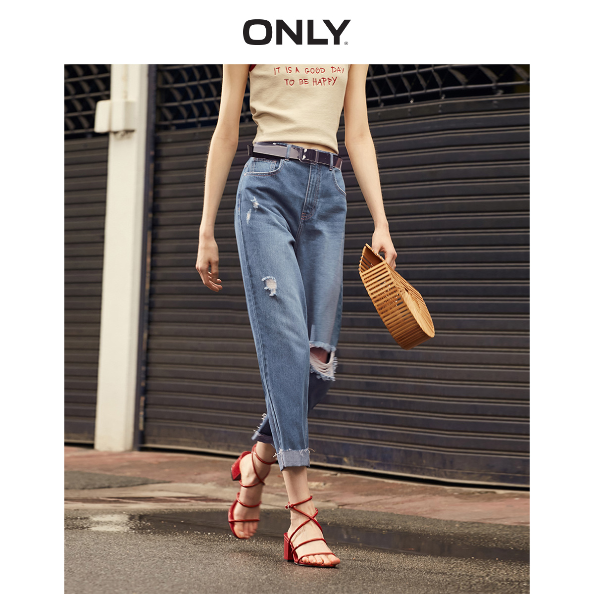 ONLY Women's Loose Fit High-rise Ripped Roll-up Crop Jeans | 119149679