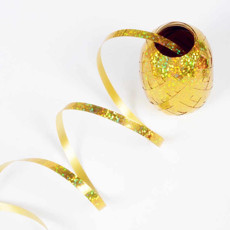 QGQYGAVJ 5mm * 10m בלון סרט לייזר לבן עלה זהב סרט חתונת מסיבת יום הולדת קישוט אוויר בלון גלישת ברז