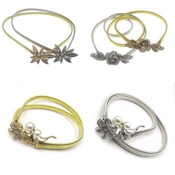 Deepeel 1pc 70cm Maple Leaf Flower Inlaid Pearl Cummerbunds Women Metal Elastic Belt Female Fashion Corset Clothing Accessories