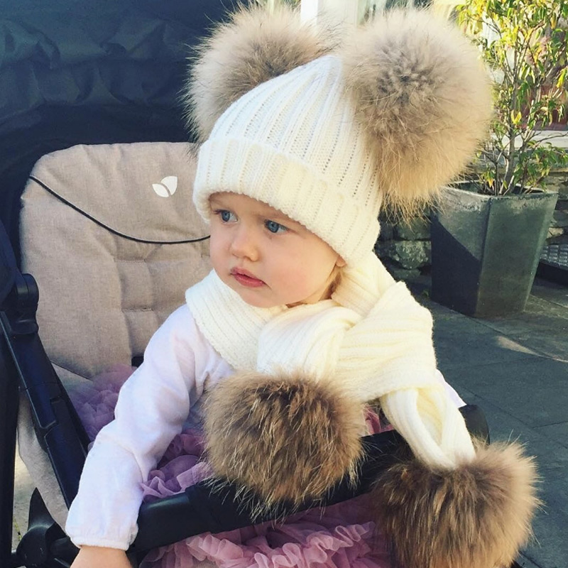Winter Girl Pom Pom Peas Warm Knitted Bubble Fur Pom Pom Hat And Scarf Set Child Real Raccoon Fur Pompon Winter Hat Skull