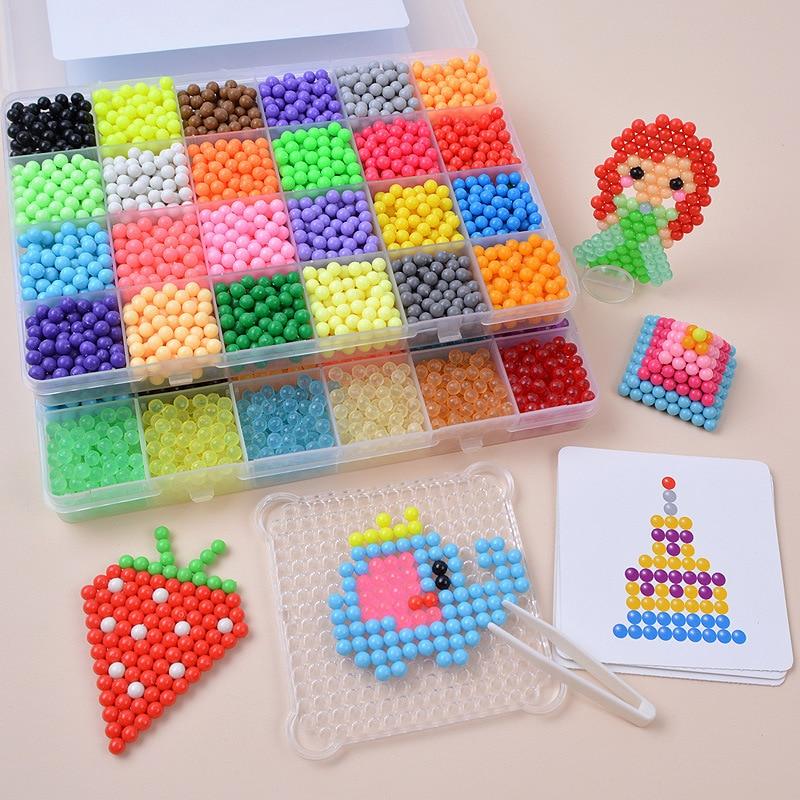 Bricolage de moules animaux de perles magiques, 6000 pièces, 24 couleurs, Puzzle 3D fait à la main, jouets de perles éducatives pour enfants
