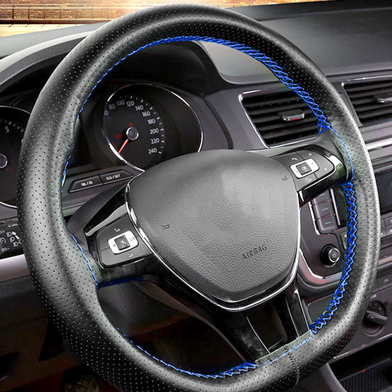DIY Hand Sew Car Steering Wheel Cover 38cm for Volkswagen VW Golf 7 GTI Golf R MK7 VW Polo GTI Scirocco 2015 <font><b>2016</b></font> Accessories image