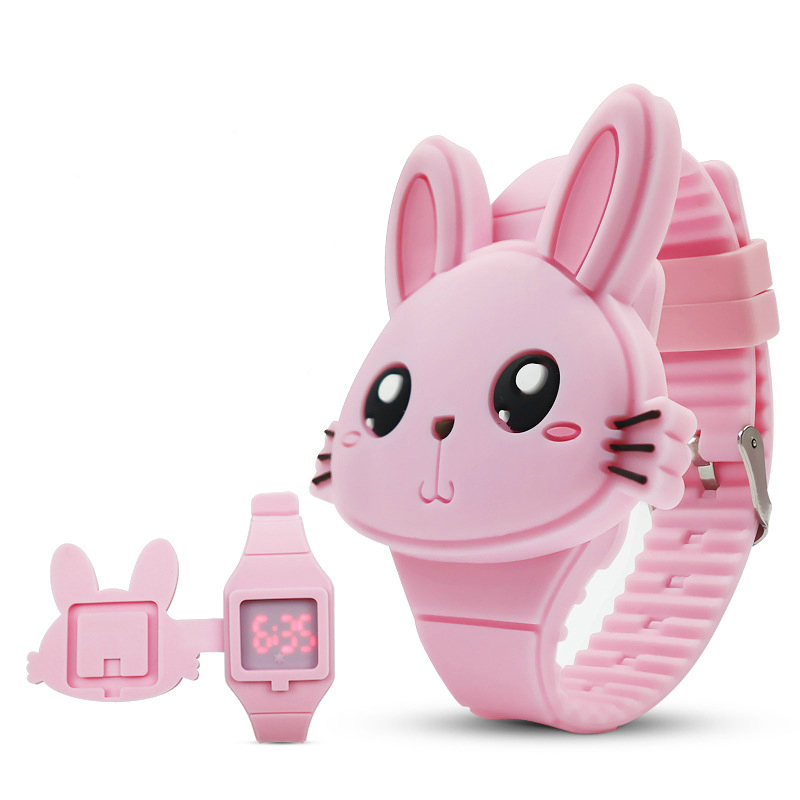 Kids Watches Children Cute Rabbit Cartoon Electronic Watch Boys And Girls Silicone Toy Wrist Watches Gifts Relogio Infantil
