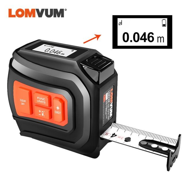 LOMVUM LTM USB Aufladbare Laser Band Laser Abstand Meter Echt Zeit Dada 40/60m Laser entfernungsmesser 5m Band LCD Digital NEUE
