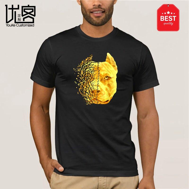 Горячая Распродажа 2019, модная дизайнерская футболка питбулл из 100% хлопка с разбитым золотом, футболка
