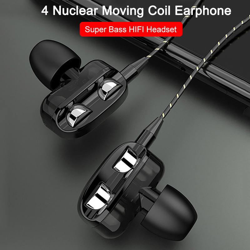 3.5mm Wired Earphone Dual Drive Stereo Earphones In Ear Earbuds Super Bass Headset Sport 4 Nuclear Headphone With Microphone