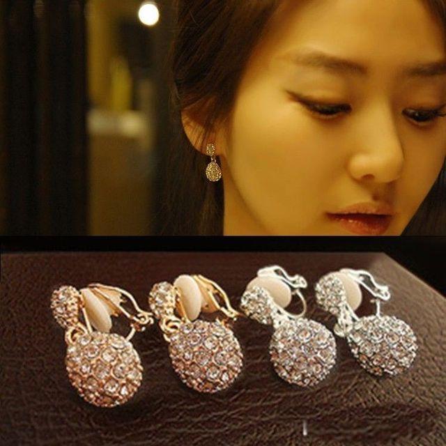 Jiofree coreia strass clipe de ouro brincos para festa de casamento nupcial feminino brincos jóias 1