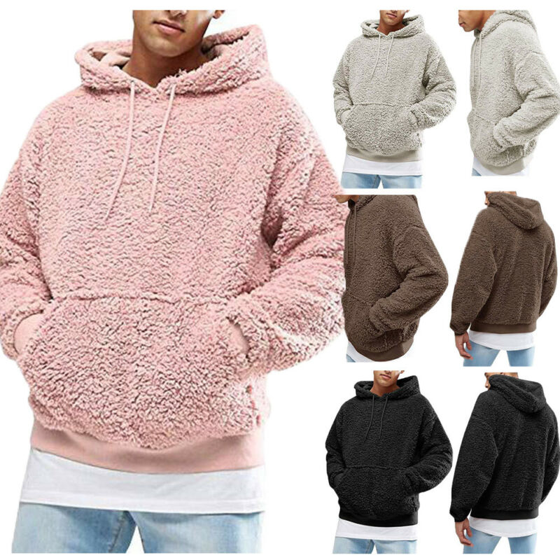 Winter Men Warm Faux Fur Teddy Bear Hoodie Hooded Sweatshirt Tops Pullover Casual Men Hooded Baggy Sweatshirt Coat Putwear