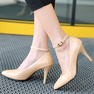 Image 5 - Fashion High Heels Women Pumps Shoes Elegant Ankle Straps ThinHeels Solid Casual Classic Red Nude Wedding Shoes Woman Big Size
