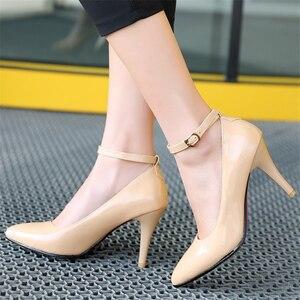 Image 5 - אופנה גבוהה עקבים נשים משאבות נעלי אלגנטי קרסול רצועות ThinHeels מוצק מזדמן קלאסי אדום עירום חתונה נעלי אישה גודל גדול