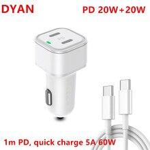 Doppel PD 20W USB Auto Ladegerät Quick Charge QC 3.04.0 Typ C Schnelle Lade USB PD Ladegerät Für iPhone 12 Pro Max Xiaomi Huawei