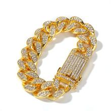 Punk Style 20mm Iced out Cubic Zirconia Bracelet Men Jewelry Cuban Chain Miami Hip Hop Gold Silver Color Bracelet цена 2017