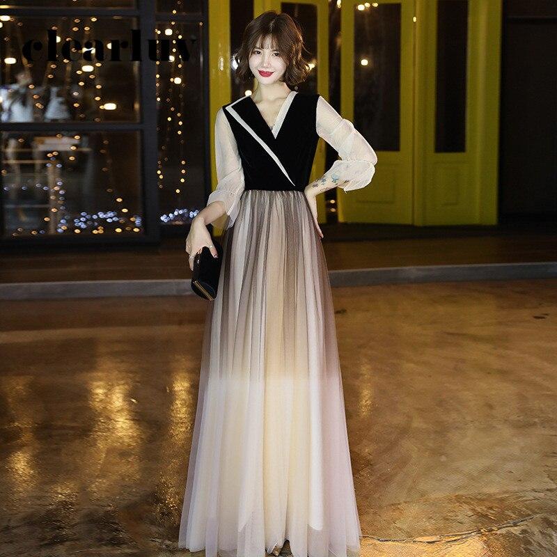 Gradient A-Line Evening Dress DR317 Patchwork Formal Robe De Soiree V-Neck Full Sleeve Elegant Dress Floor Length Party Gowns