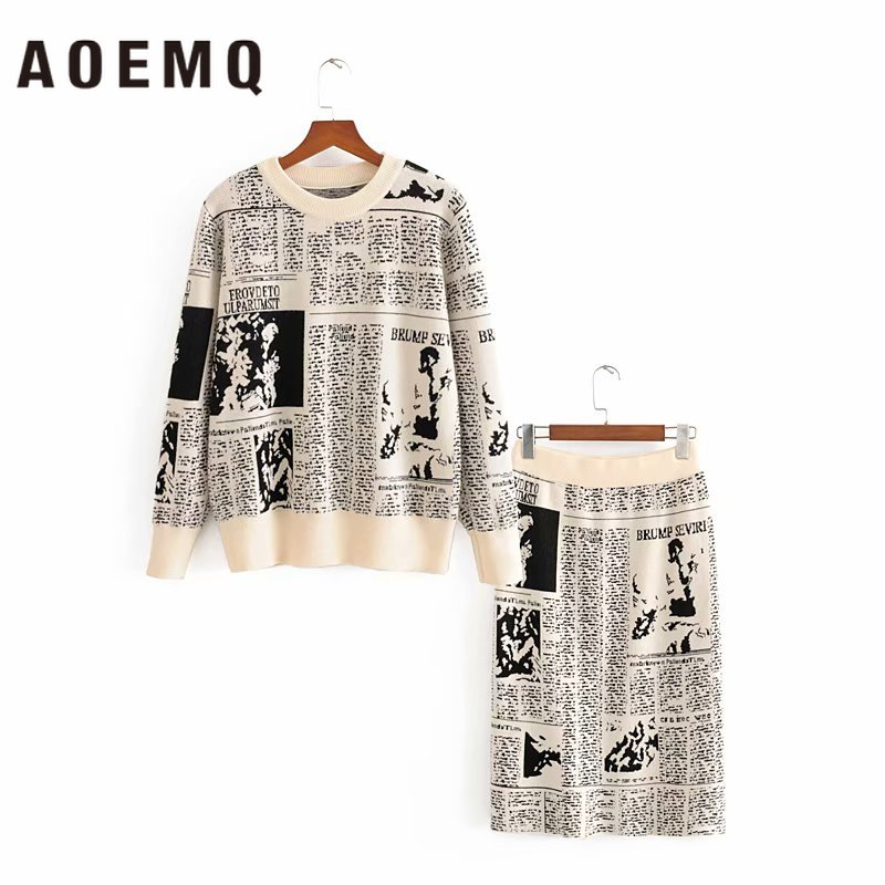 AOEMQ Fashion Women Sets Vintage Classic New York News Pullover Sweaters&Skirts Sets England Modern Office Lady Women Clothing