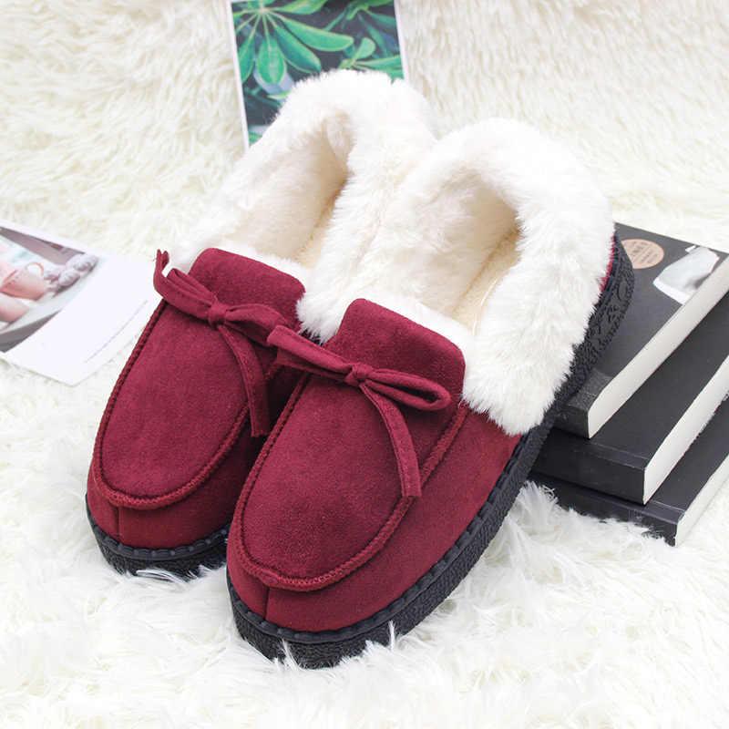 Terlik kadın kış ayakkabı papyon peluş sıcak içinde günlük mokasen ayakkabı bayanlar kapalı ev terlik Pantuflas bayanlar bağcıksız ayakkabı