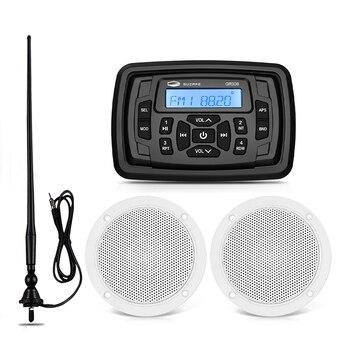"""עמיד למים ימי סטריאו Bluetooth סירת אודיו FM AM רכב MP3 נגן + 4 """"ימי רמקול + רדיו אנטנה עבור עגלת גולף UTV אופנוע"""