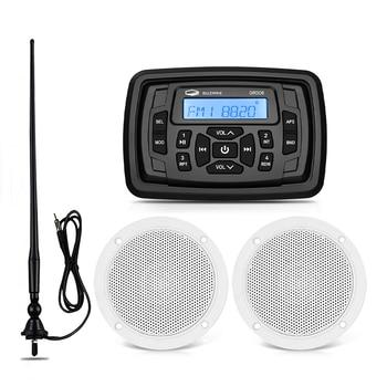 """Lettore MP3 per auto FM AM Stereo Bluetooth per barche Stereo marino impermeabile + altoparlante marino da 4 """"+ Antenna Radio per carrello da Golf UTV moto"""