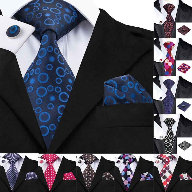 Hi-Tie Handky Cufflinks Set 10 Styles Silk Ties For Men 150cm Large Men's Tie Dot Black Luxury Floral Designer Wedding Necktie
