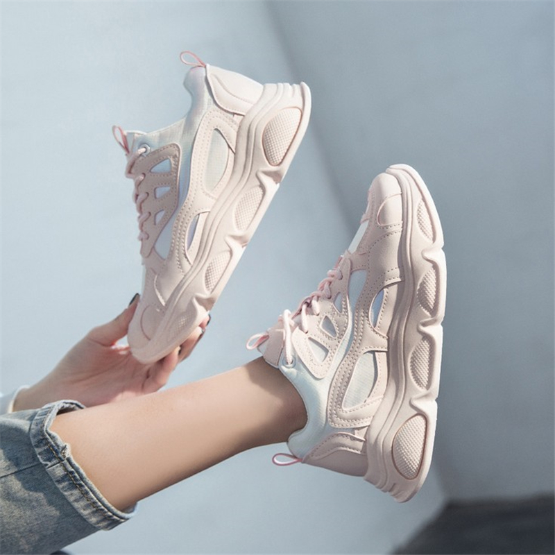 JIANBUDAN Chunky Sneakers Women Spring Thick Bottom Daddy Shoes 2020 new casual Round Toe Breathable outdoor Women Shoes 35-40
