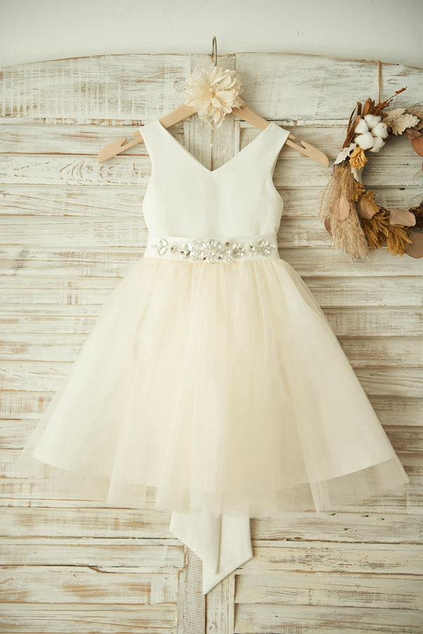 New   Flower     Girl     Dress   2019 Champagne Lace Tulle with Beading Sashes and Big Bow   Dress   Zipper Up Sleeves   Dress   for Wedding