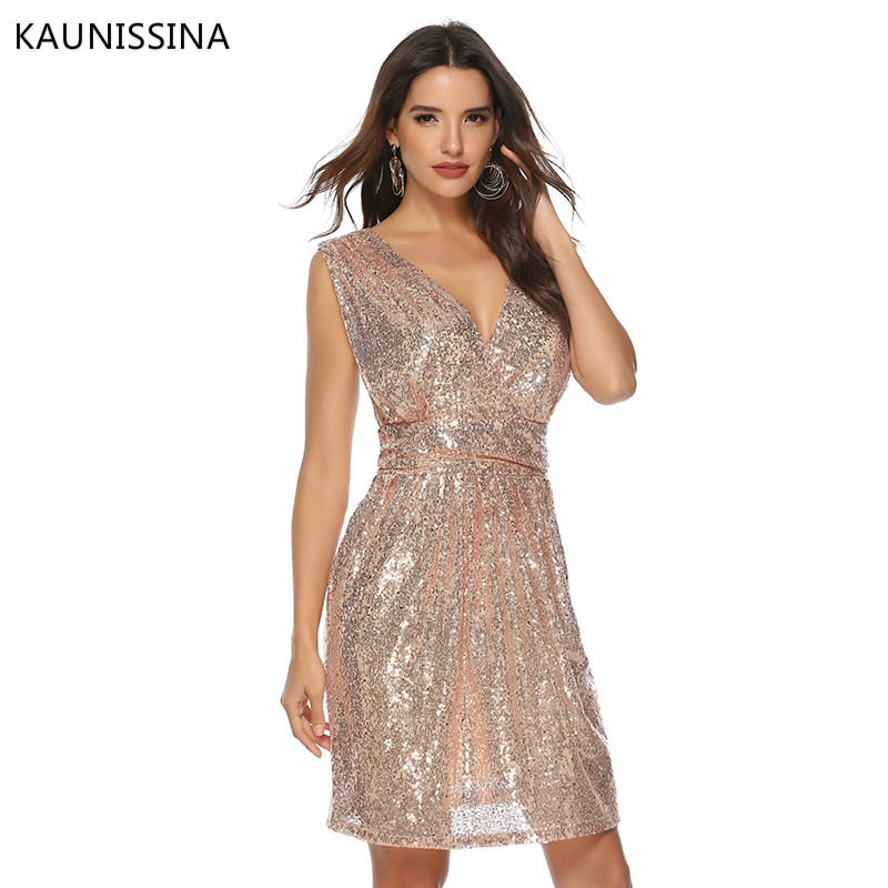Image 3 - KAUNISSINA Women Sexy Sequins Cocktail Dress Solid V Neck Sleeveless High Waist Dress Homecoming Dresses Party Gown Real PhotoCocktail Dresses   -