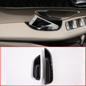 2pcs For Mercedes Benz C-Class W205 GLC Class X253 2015-2018 Car Front Door Handle Storage Box Tray For Left Hand Drive